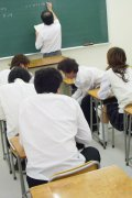 Japanese schoolgirl fucked by her classmates in a classroom
