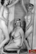 Multiple sexy vintage ladies posing naked in the fifties