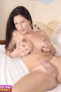 Adorable fresh tranny plays with her sturdy meat