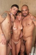 Horny Patricia joins two bisexual men suck off cocks and plow their tight asses
