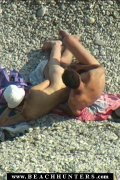 Horny guy check out the twat of his girl on a beach