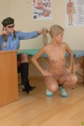 Physical and shape inspection of a nude army gal