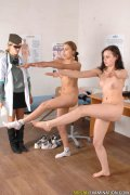 Two teen examinees inspected by two doctors