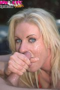 MILF is blasted full of sperm in her blue eyes