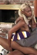 Ebony cheerleader fucked right up her skirt