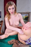 Frisky lezzie diddling and four-fingering a gal's ass on the billiard table