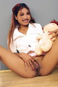 Indian schoolgirl spreads her dark slit wide