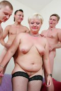 Chubby blonde mom enjoys her best sex ever getting drilled by 4 younger dudes with no mercy