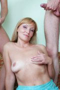 Hot blue-eyed MILF gets fucked into new levels of pleasure by four younger studs