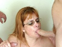 Tattoed Grandma Blowjob