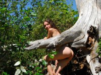 Wisdom  - Beautiful brunette, hippie, teen shows her hairy bush and pits out in nature.