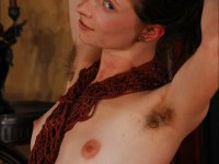 Serquet - Exotic hairy hippie girl dances indoors and shows her hairy bush and armpit hair.