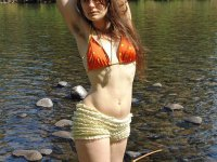 Star - Natural Hippie girl strips down at the beach and shows her hairy bush and pits.
