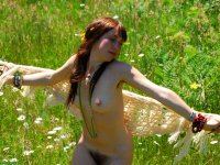 Ruby - Pretty hippie girl strips outdoors to reveal her hairy bush.
