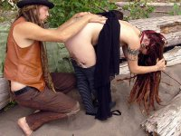 Levi` and Irish - Sexy Hippie couple with long dread locks. Follow her treasure trail to her hairy bush.